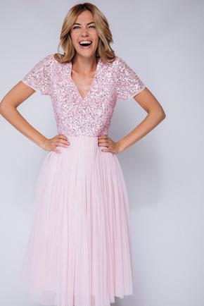 Рожеве плаття міді з фатину з паєтками в прокат и oренду в Киiвi. Фото 2