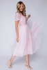 Розовое платье миди из фатина с пайетками в прокат и аренду в Киеве. Фото 3