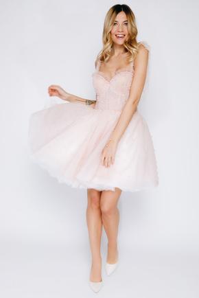 Рожева пишна сукня міні розшита намистинами в прокат и oренду в Киiвi. Фото 2