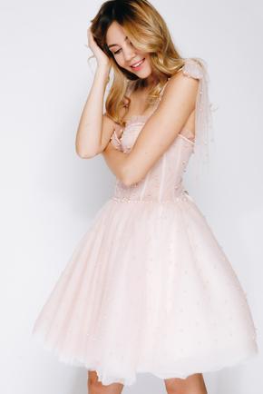 Рожева пишна сукня міні розшита намистинами в прокат и oренду в Киiвi. Фото 1