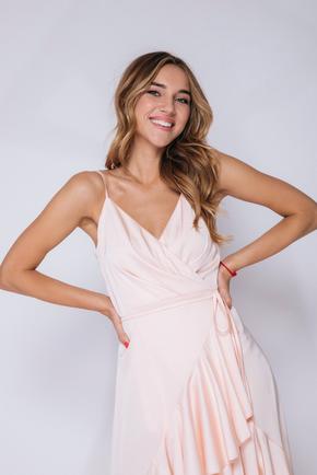 Персикове плаття зі змінною довжиною на запах в прокат и oренду в Киiвi. Фото 2