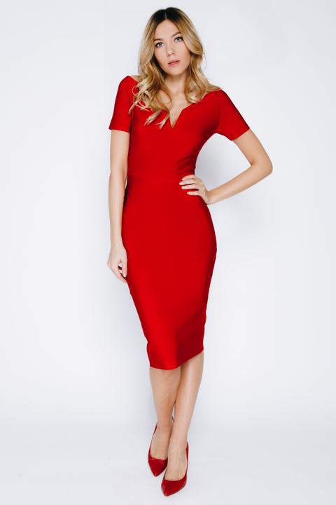 Бандажное платье-футляр миди красного цвета с рукавом