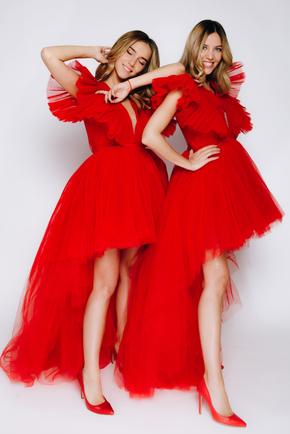 Червона сукня зі змінною довжиною з фатину в прокат и oренду в Киiвi. Фото 1