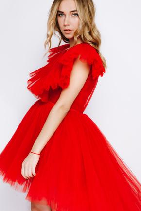 Червона сукня зі змінною довжиною з фатину в прокат и oренду в Киiвi. Фото 2
