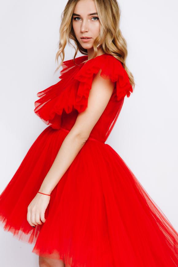 Красное платье с переменной длиной из фатина в прокат и аренду в Киеве. Фото 2
