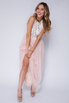 Нежно-розовое платье в пол с верхом из белых пайеток в прокат и аренду в Киеве. Фото 4