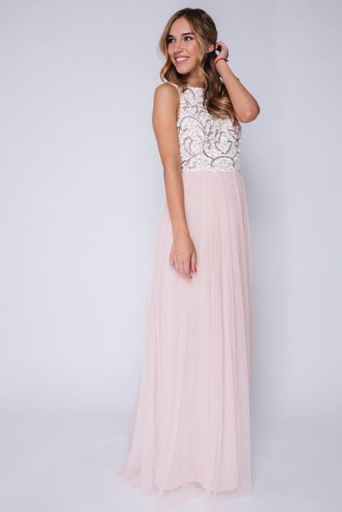 Нежно-розовое платье в пол с верхом из белых пайеток