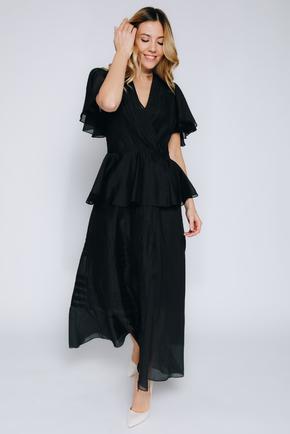 Чорна сукня з запахом з органзи довжини міді в прокат и oренду в Киiвi. Фото 2