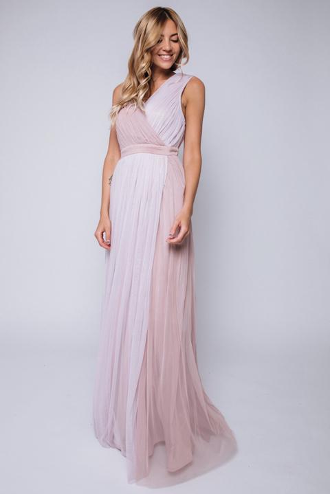 Комбинированное платье бежево-розового цвета в пол