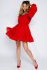 Красное платье мини из шифона со спущенными плечами и камнями в прокат и аренду в Киеве. Фото 1