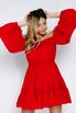 Красное платье мини из шифона со спущенными плечами и камнями в прокат и аренду в Киеве. Фото 3