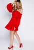 Красное платье мини из шифона со спущенными плечами и камнями в прокат и аренду в Киеве. Фото 5