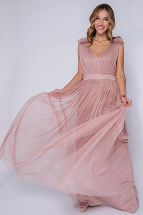 Пудрове плаття в підлогу з фатину з декором на плечах в прокат и oренду в Киiвi. Фото 2