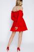 Красное платье мини из шифона со спущенными плечами и камнями в прокат и аренду в Киеве. Фото 4
