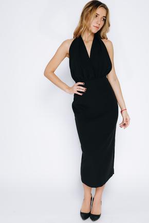 Чорна сукня-футляр довжини міді з відкритою спиною в прокат и oренду в Киiвi. Фото 2