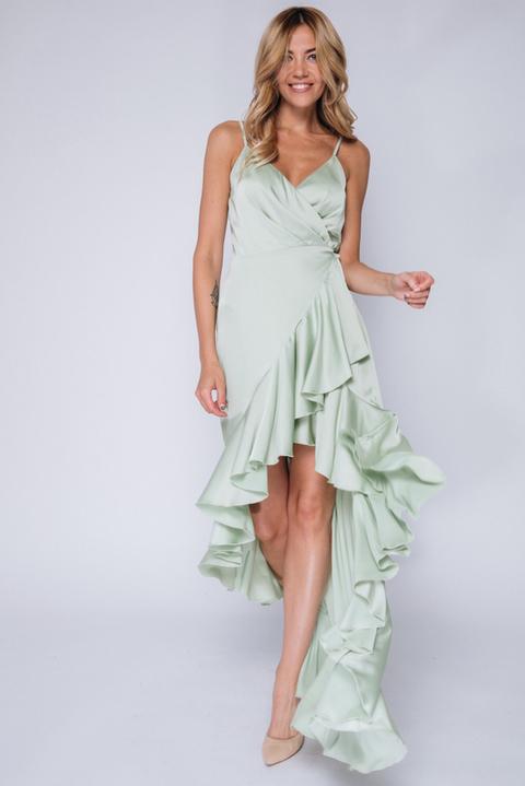 Фисташковое платье с переменной длиной на запах