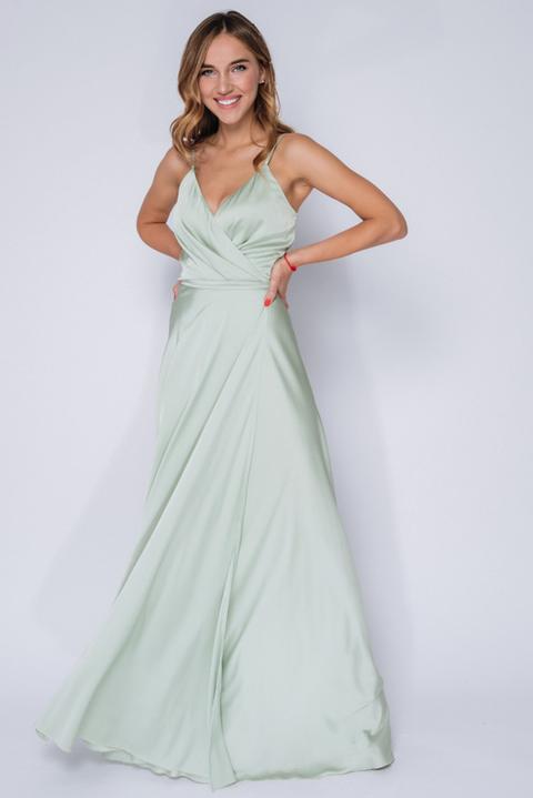 Платье в пол на запах фисташкового цвета