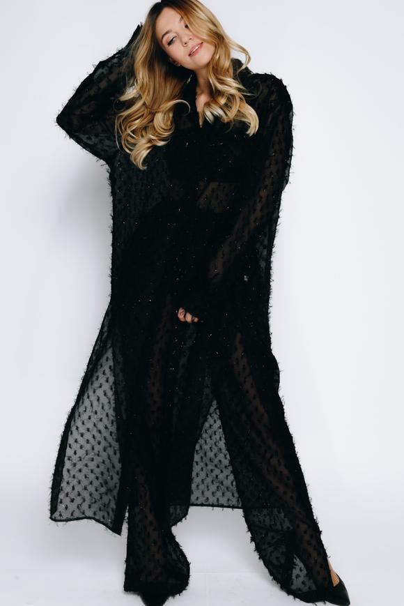 Платье-рубашка с черными брюками из структурированной ткани в прокат и аренду в Киеве, Одессе, Харькове. Фото 2