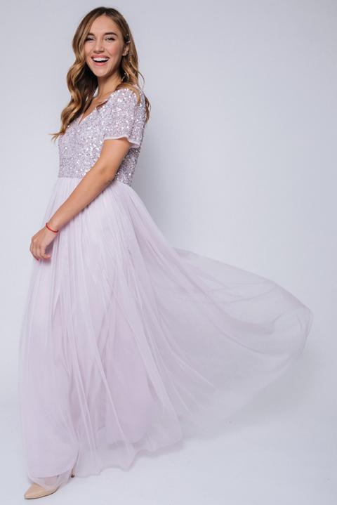 Сиреневое платье макси с пайетками