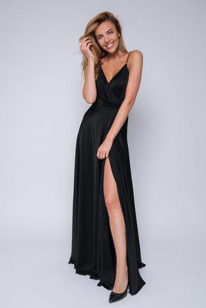 Чорна сукня в підлогу на тонких бретелях в прокат и oренду в Киiвi. Фото 1