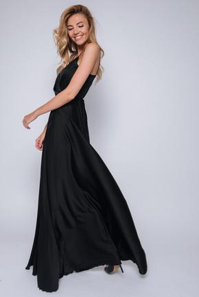 Чорна сукня в підлогу на тонких бретелях в прокат и oренду в Киiвi. Фото 2