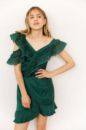 Шелковое платье-мини насыщеного зеленого цвета с кружевом в прокат и аренду в Киеве. Фото 2