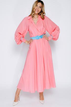Яскраво-рожеве шовкове плаття довжини міді з рукавом в прокат и oренду в Киiвi. Фото 1