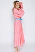 Ярко-розовое шелковое платье длины миди с рукавом в прокат и аренду в Киеве. Фото 3