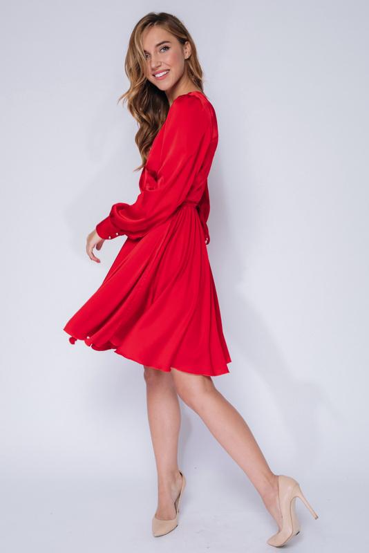 Красное платье мини с длинным рукавом в прокат и аренду в Киеве, Одессе, Харькове. Фото 3