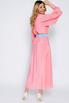 Ярко-розовое шелковое платье длины миди с рукавом в прокат и аренду в Киеве. Фото 4