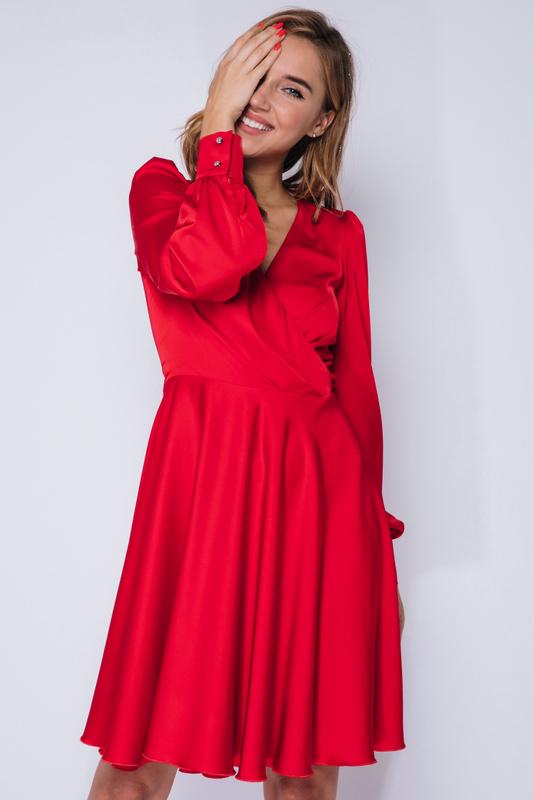 Красное платье мини с длинным рукавом в прокат и аренду в Киеве, Одессе, Харькове. Фото 1