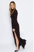 Шелковое платье шоколадного цвета с объемными плечами в прокат и аренду в Киеве. Фото 3