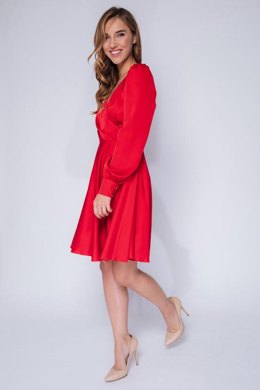 Красное платье мини с длинным рукавом в прокат и аренду в Киеве, Одессе, Харькове. Фото 5