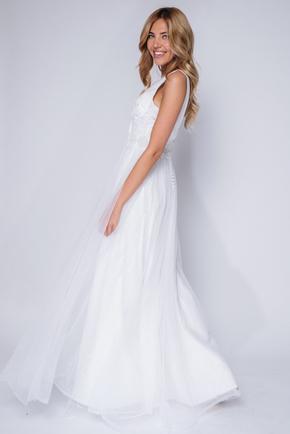 Біле плаття в підлогу розшите бісером в прокат и oренду в Киiвi. Фото 2