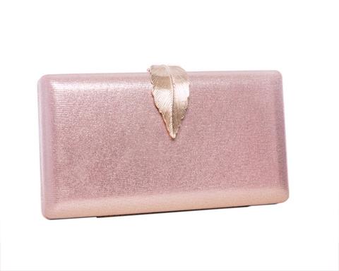 Розовый клатч с блестками и золотым листком