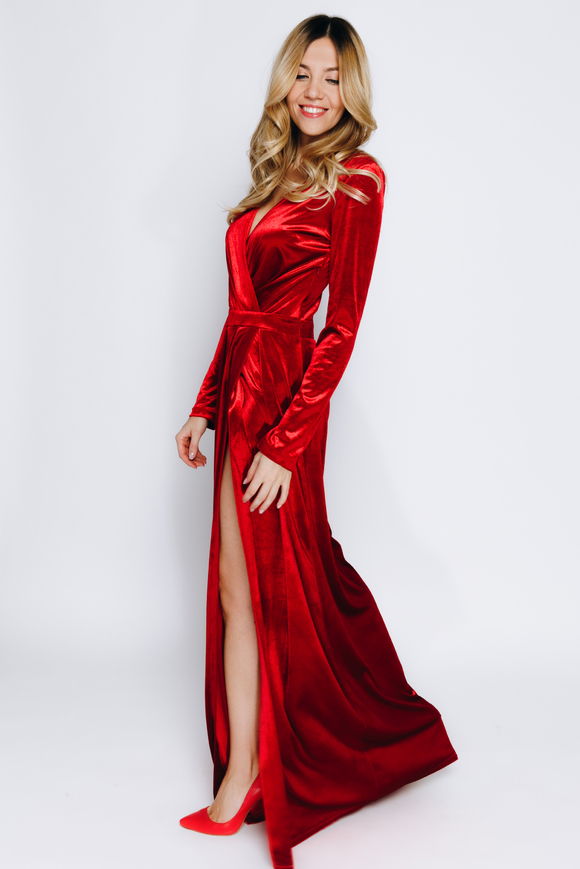 Темно- красное бархатное платье в пол в прокат и аренду в Киеве, Одессе, Харькове. Фото 2