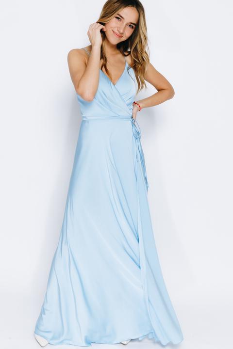 Платье на бретелях макси небесного цвета