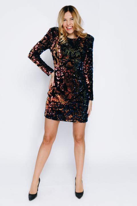Велюровое платье с разноцветными пайетками