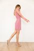 Пудровое платье-футляр мини с длинными рукавами из драпированого фатина в прокат и аренду в Киеве. Фото 3