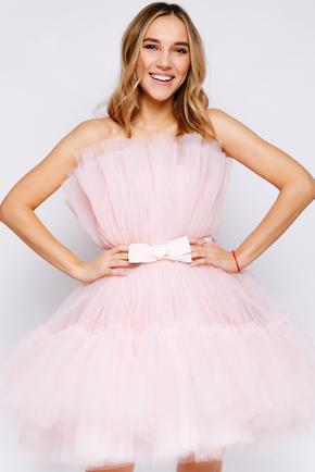 Ніжно-рожева пишна сукня довжини міні в прокат и oренду в Киiвi. Фото 2