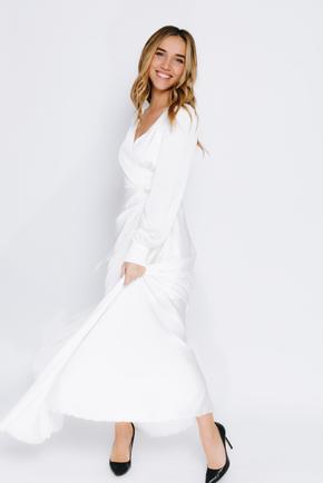 Молочне плаття максі з рукавом і коротким підкладом в прокат и oренду в Киiвi. Фото 2