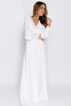 Молочне плаття максі з рукавом і коротким підкладом в прокат и oренду в Киiвi. Фото 1