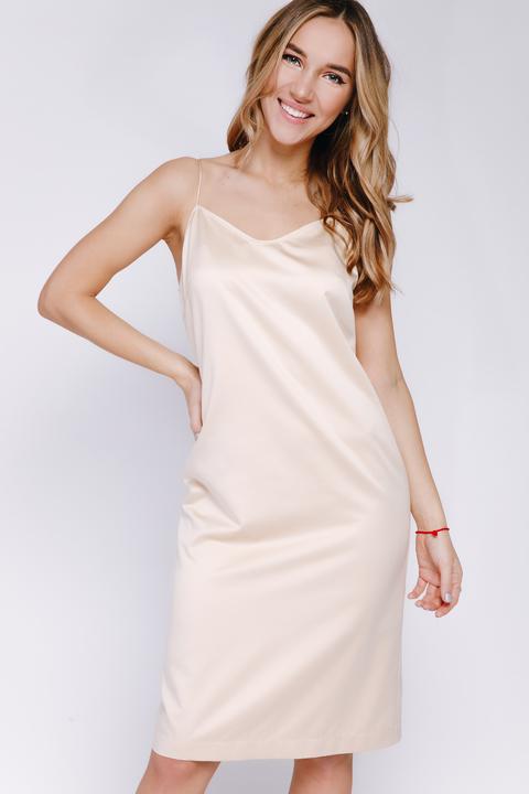 Бежевое шелковое платье-комбинация