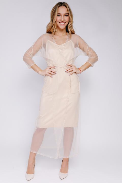 Платье на запах из бежевой сетки расшитой бисером