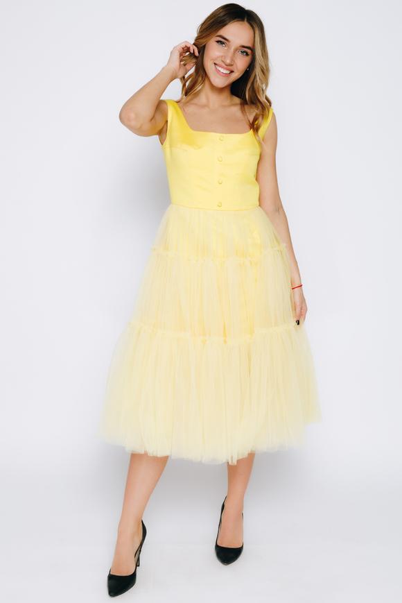 Желтое платье миди из фатина с широкими шлейками в прокат и аренду в Киеве. Фото 1