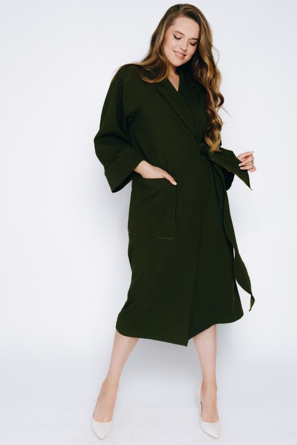 Платье-кимоно миди с длинным рукавом цвета хаки в прокат и аренду в Киеве, Одессе, Харькове. Фото 2