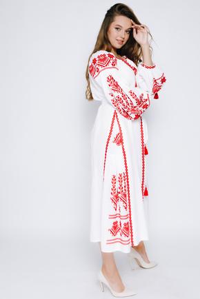 Біла вишиванка в підлогу з червоною вишивкою в прокат и oренду в Киiвi. Фото 2