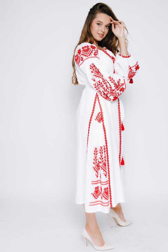 Белая вышиванка в пол с красной вышивкой в прокат и аренду в Киеве, Одессе, Харькове. Фото 2