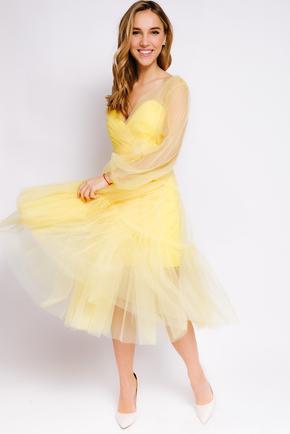 Комбінована сукня довжини міді с фатину жовтого кольору в прокат и oренду в Киiвi. Фото 2