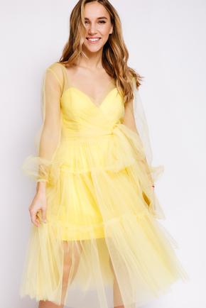 Комбінована сукня довжини міді с фатину жовтого кольору в прокат и oренду в Киiвi. Фото 1